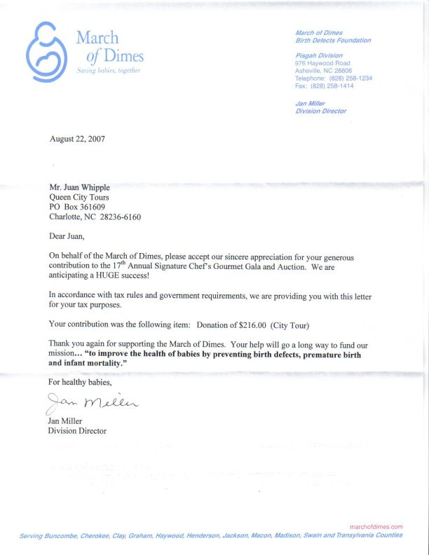 March of Dimes Letter